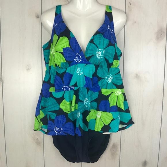 c657bf7e5a6c6 Tropical Escape Swim | Blue Green Floral Split Suit | Poshmark